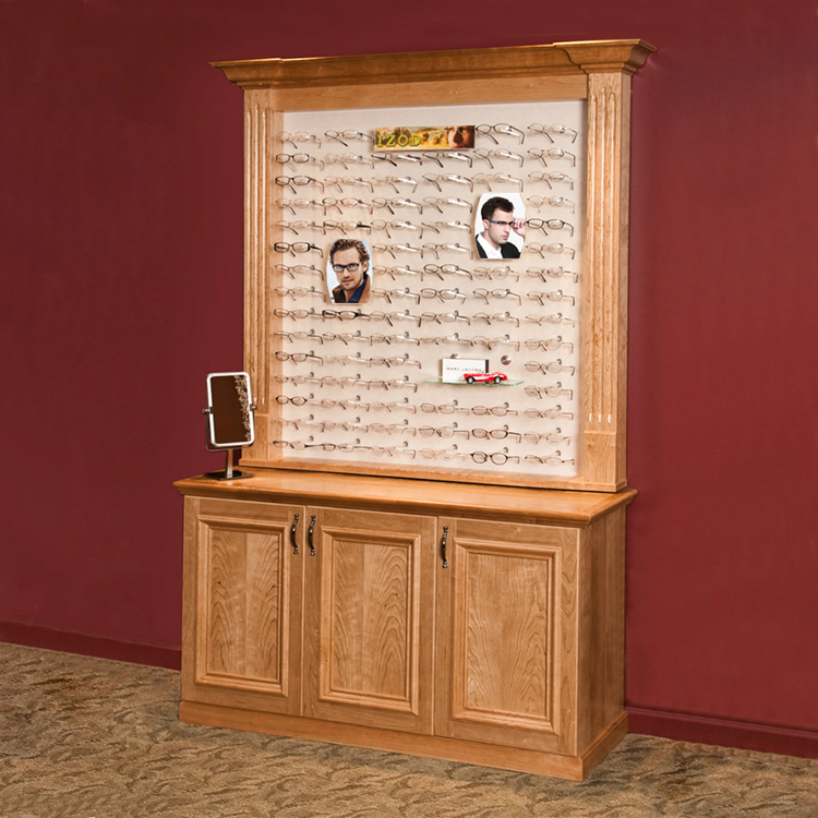 Custom Wooden Optical Display Cabinet With Lockers